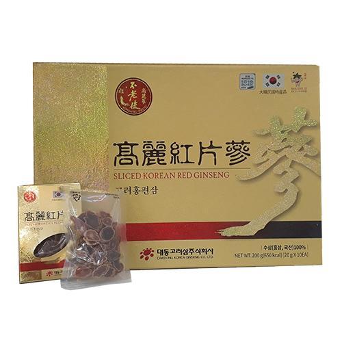 Hồng Sâm Thái Lát Củ Khô Sliced Korean Red Ginseng Daedong 200g