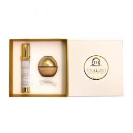 Set Kem hoa nghệ tây tái tạo da Thalissi Natural Gold Essence & Serum trẻ hóa mắt môi Longevity